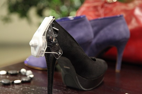 Shoes with Sensormatic High-heel Footwear Tag