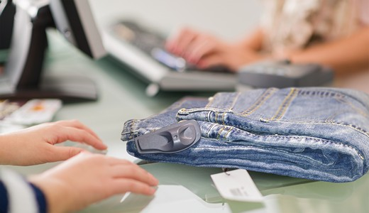 Tyco's Visible Source Tag protecting a pair of jeans at POS