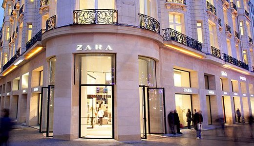 Zara storefront on the Champs Elysees in Paris